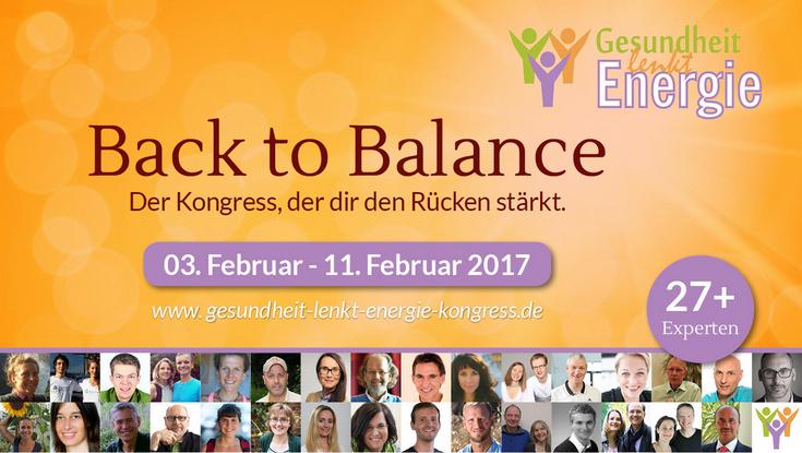 Gesundheit lenkt Energie Kongress - Back to Balance